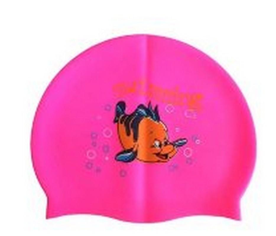 Купить Шапочка для плавания силиконовая с рисунком RH-С10 розовая, NoBrand