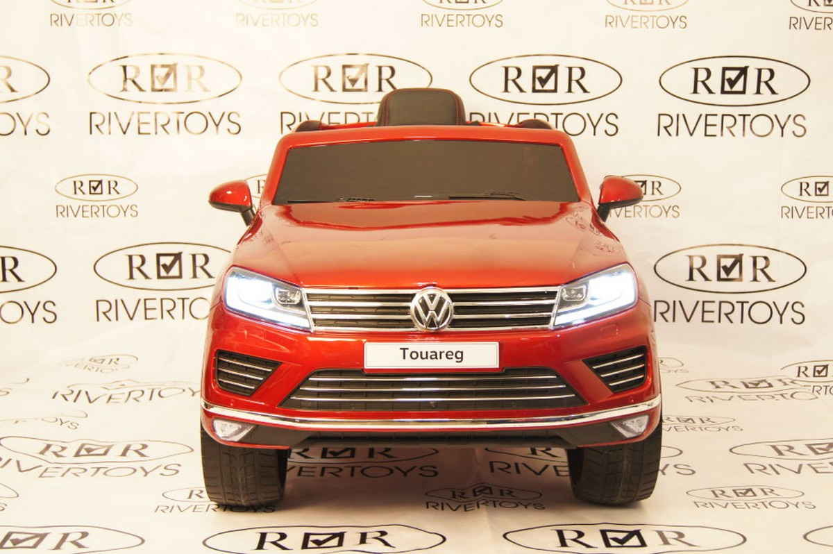 Купить Электромобиль River-Toys Volkswagen Touareg с пультом ДУ вишневый глянец, Детские электромобили