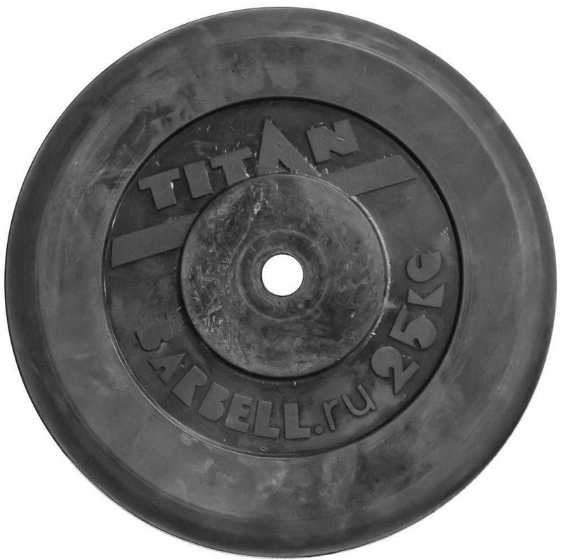 Диск для грифа MB Barbell Титан обрезиненный черный, 31 мм, 25 кг