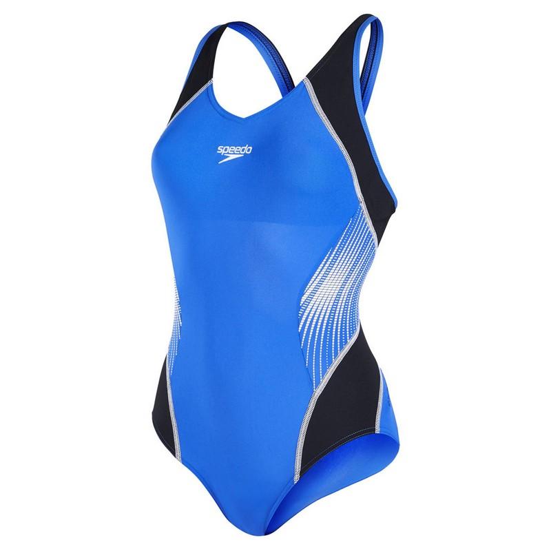 Купальник спортивный Speedo Fit Splice Musclesback женский (B013) чер/гол.