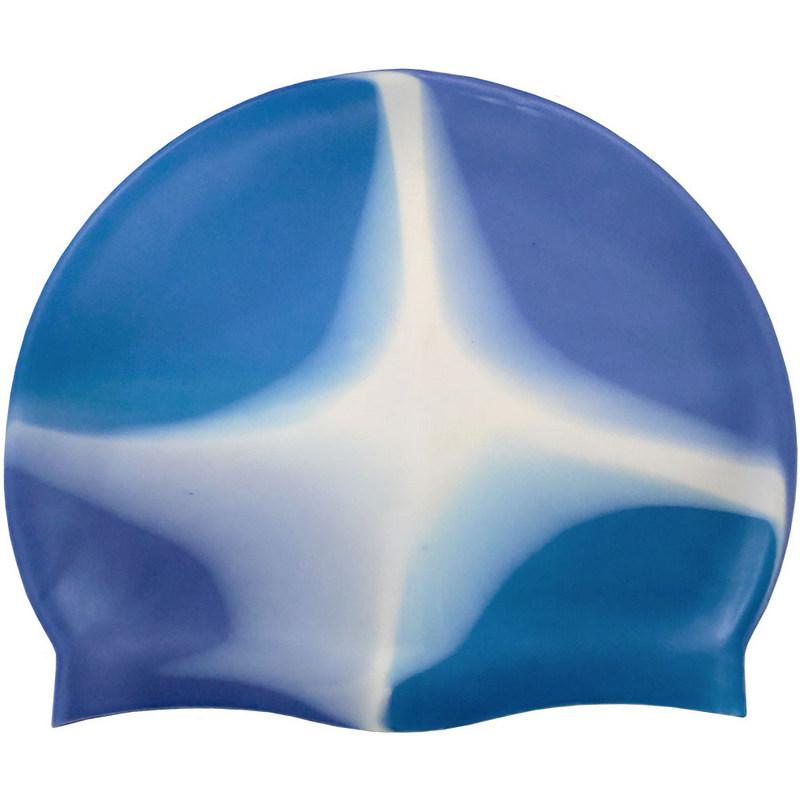 Купить Шапочка для плавания силиконовая B31518-8 (сине/белый/голубой), NoBrand