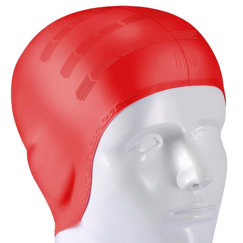 Купить Шапочка для плавания B31565 силиконовая анатомическая (красная), NoBrand