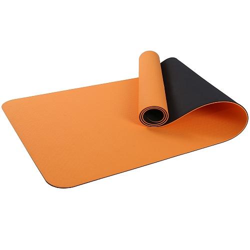 Купить Коврик для фитнеса и йоги Larsen TPE двухцветный оранж/чёрный 183х61х0,6см,