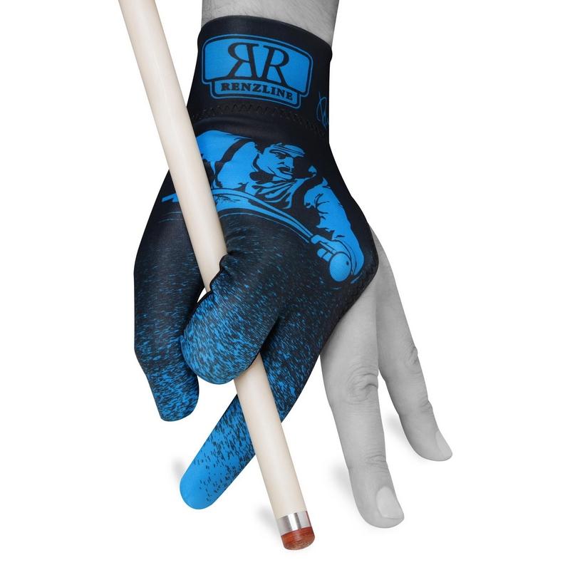 Перчатка Longoni Renzline Billiard Player Velcro черная/голубая безразмерная