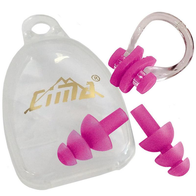Купить Набор для плавания, беруши, зажим носа B31522-2 (розовый), NoBrand
