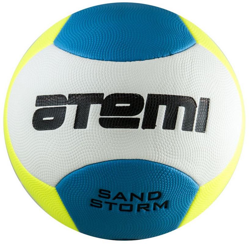 Купить Мяч футбольный Atemi Sand Storm пляжный PVC foam, жёлто-голубой р.5,