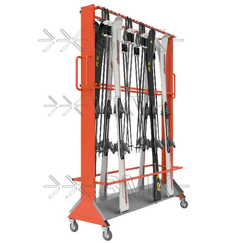 Стеллаж для горных лыж ЗМК Премиум на 32 пары, мобильный, двухсторонний, с вешалкой для лыжных палок
