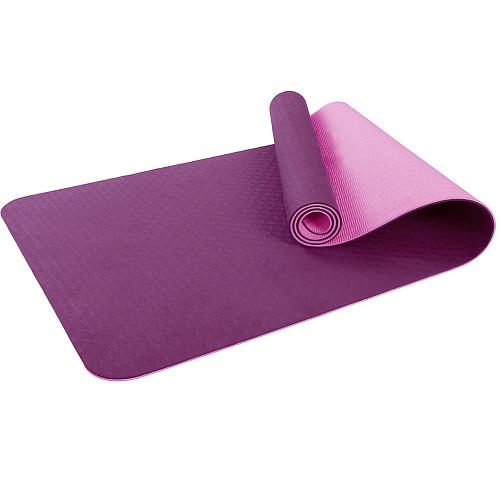 Купить Коврик для фитнеса и йоги Larsen TPE двухцветный фиолет/роз 183х61х0,6см,