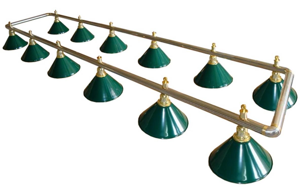 Купить Лампа на двенадцать плафонов Evergreen d35 см 75.008.12.0 серебристо-золотистая штанга, зеленый плафон, NoBrand