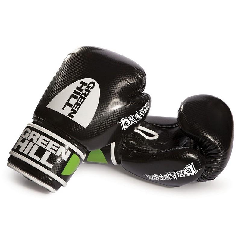 Перчатки боксерские Green Hill Dragon BGD-2056 синт. кожа ПУ, черные перчатки боксерские green hill dove цвет синий белый вес 10 унций bgd 2050