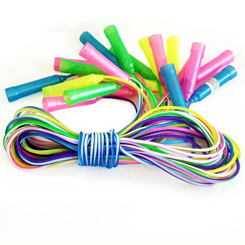 Скакалки (10 штук) шнур из ПВХ 2,6 м. (2-х цветный мультиколор) R18109 фото