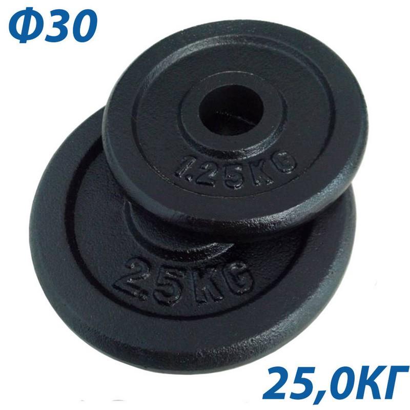Блин крашеный d30 мм, 25 кг BHPL101-D30 чёрный от Дом Спорта