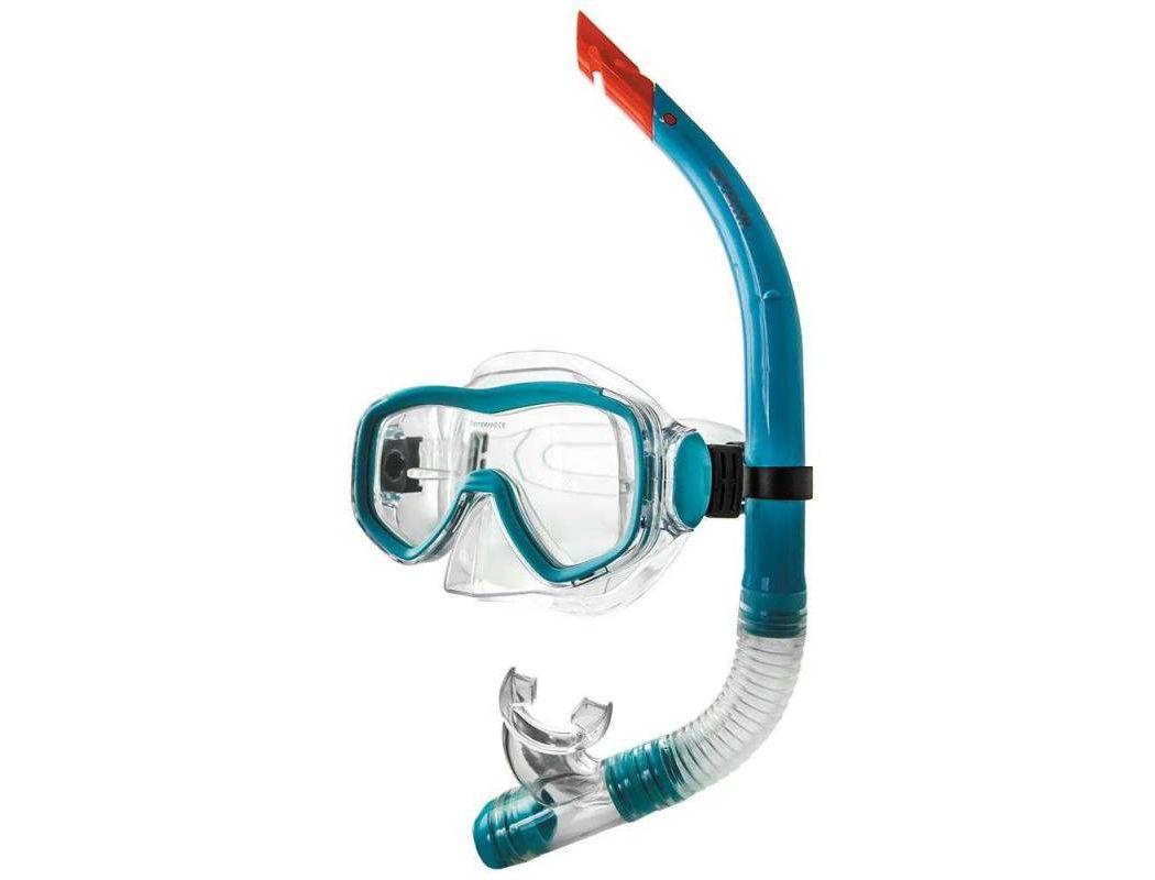 Купить Набор для плавания ( маска+трубка) Atemi (голубой), 24102,