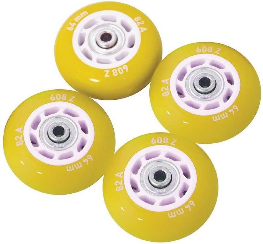 Набор колес для роликов Novus NWS-17.05 светящиеся, ПВХ (64мм Aвес-5 82A) 4 шт. желтые
