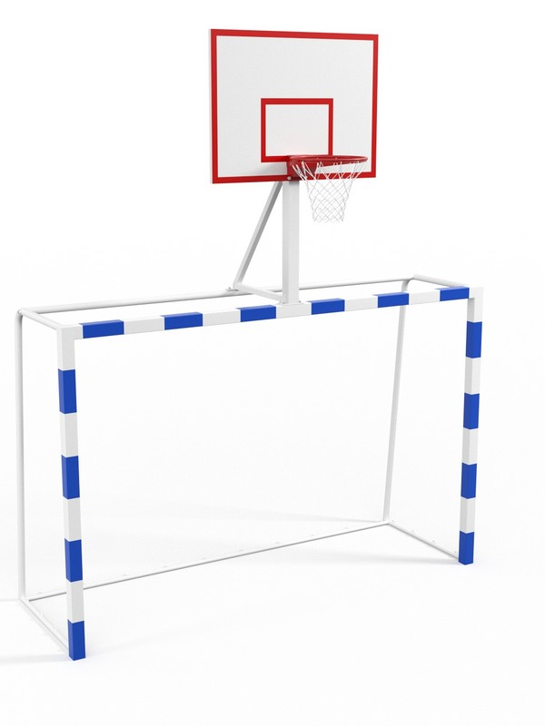 Купить Ворота с баскетбольным щитом из фанеры Glav удлиненными штангами и стаканами 7.103-2,