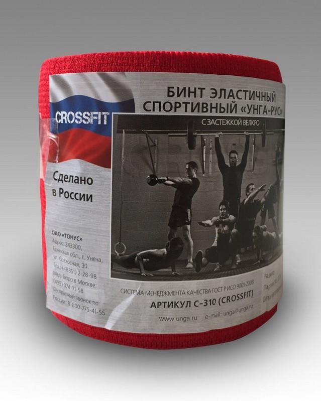 Бинт эластичный спортивный Унга-Рус Crossfit красный, 1,5 м x 8 см C-310