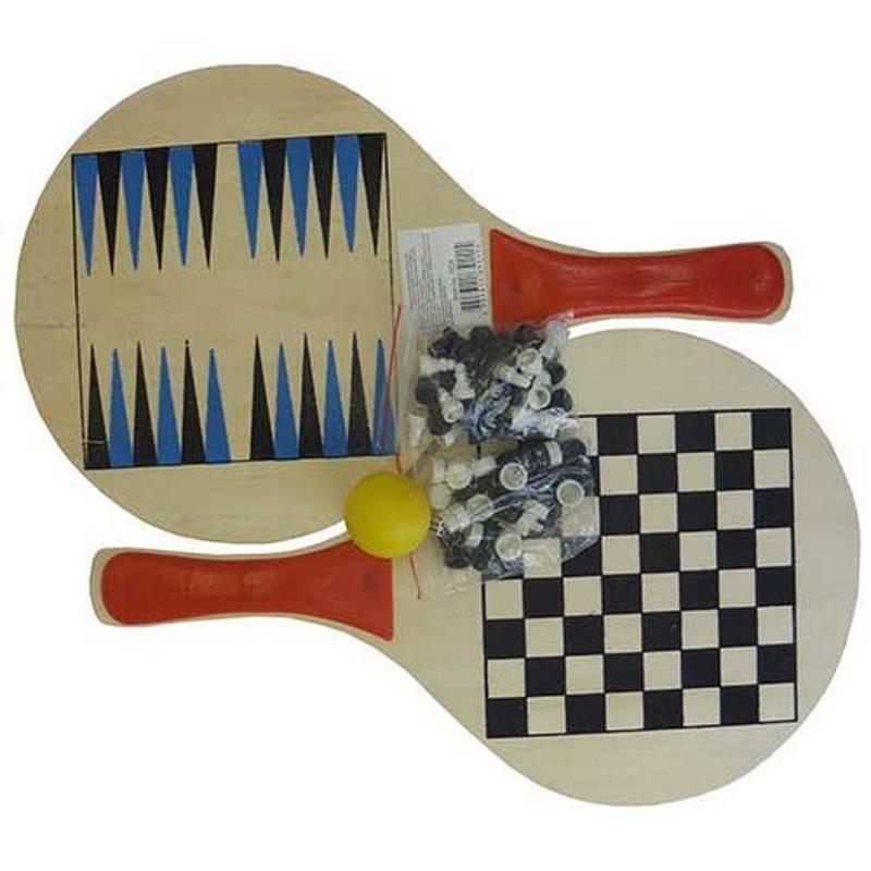 Купить Набор 3 в 1: пляжный теннис, шахматы, нарды TCB, NoBrand