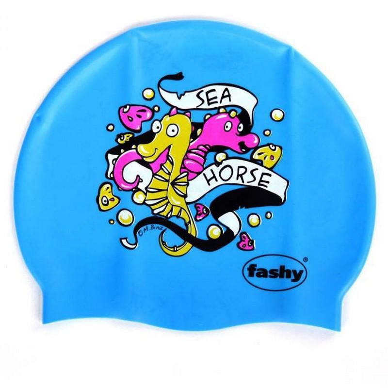 Купить Шапочка для плавания Fashy Silicone Cap Printed 3047-00-75 принт морской конек, ярко-голубой,