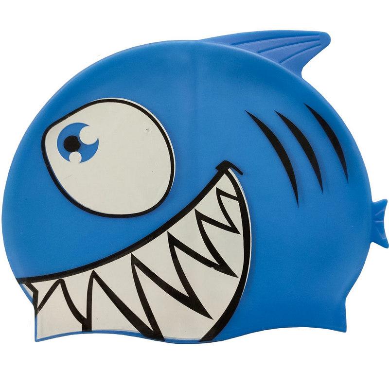 Купить Шапочка для плавания силиконовая с принтом B31515-1 (Синий), NoBrand