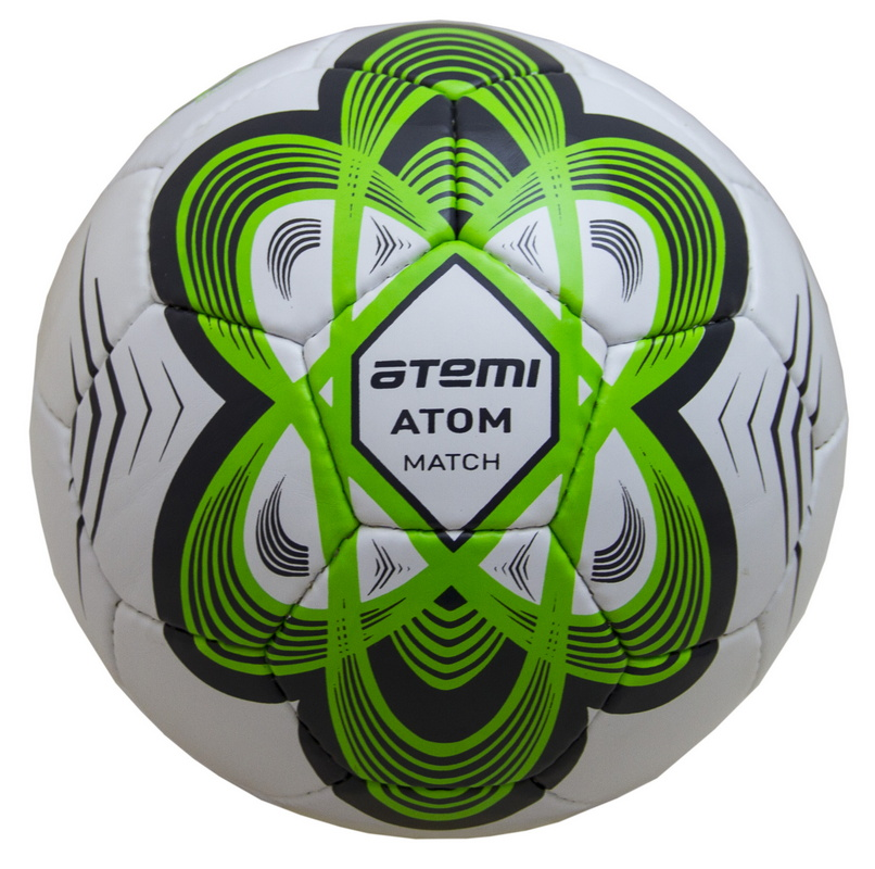 Купить Мяч футбольный Atemi ATOM, PU, зеленый, р.5,