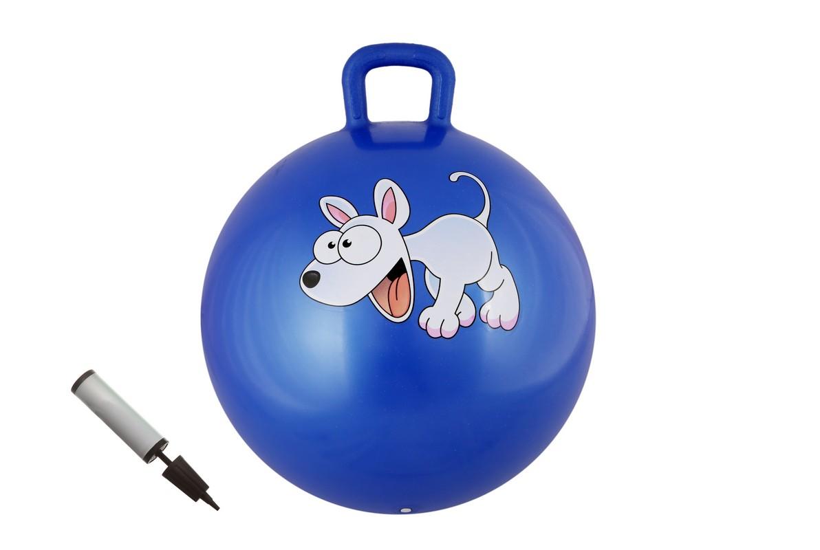 Мяч с ручкой + насос Body Form D=55 см BF-CHBP01 синий