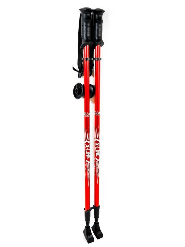 Купить Палки для скандинавской ходьбы X-Line треккинговые раздвижные 110-135см (черные резиновые ручки) SPX-1,