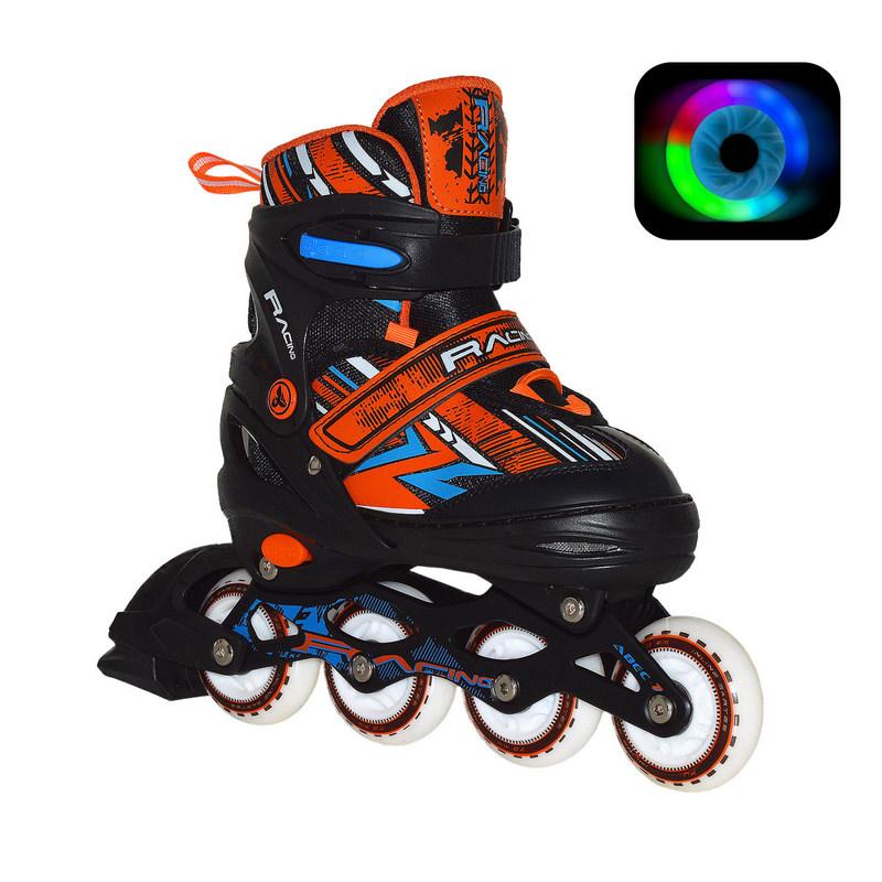 Раздвижные роликовые коньки RGX Rasing Orange LED подсветка колес
