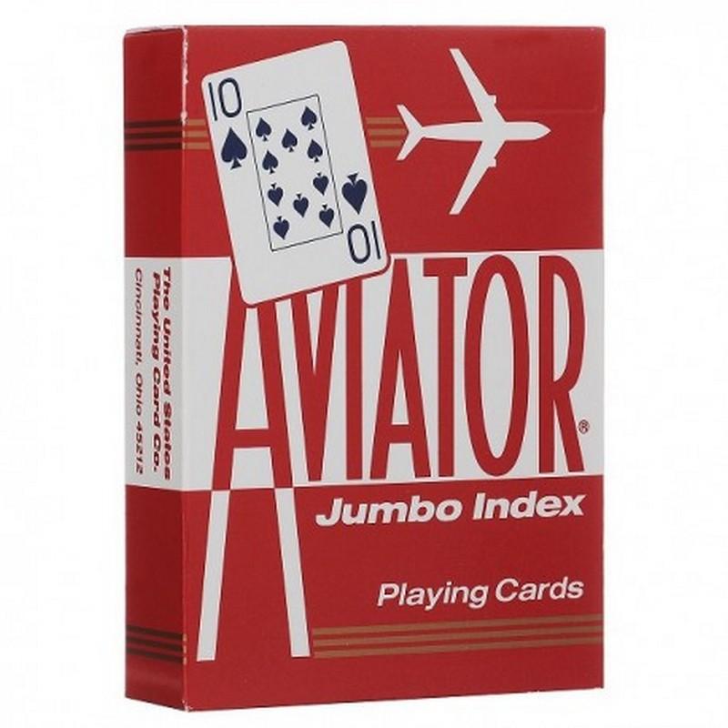 Купить Карты Аviator Jumbo Index Red Blue, красная рубашка 1000876-red, NoBrand, Карты игральные