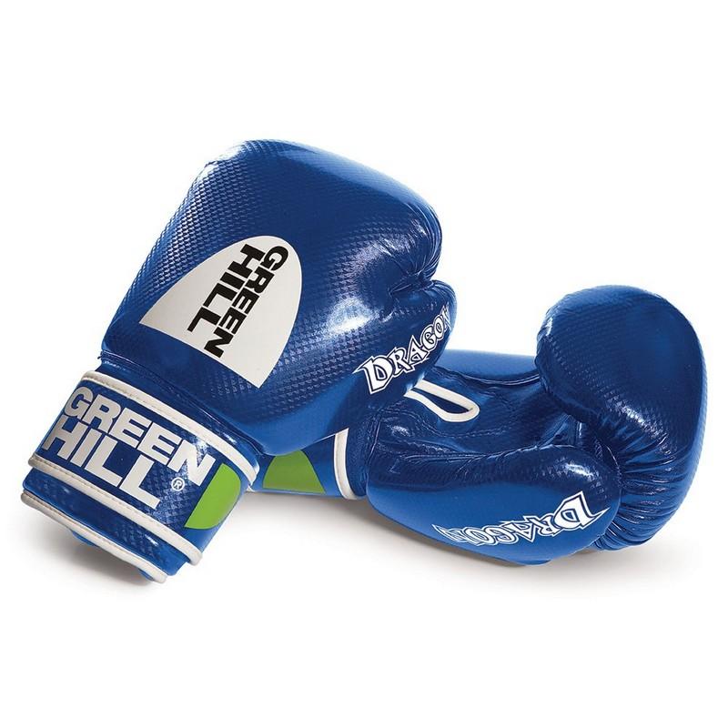 Перчатки боксерские Green Hill Dragon BGD-2056-12-BL, 12 oz, синт. кожа ПУ, синие перчатки боксерские green hill dove цвет синий белый вес 10 унций bgd 2050