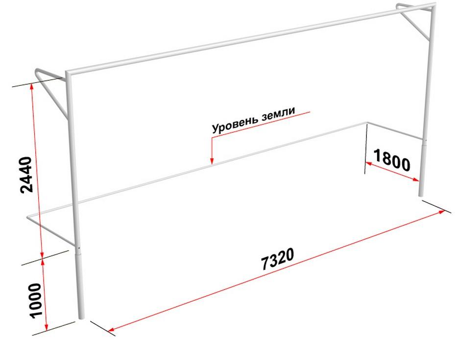 Купить Ворота футбольные Glav с консолью для натяжения сетки, разборные (7,32х2,44 м) 15.100.1 шт,