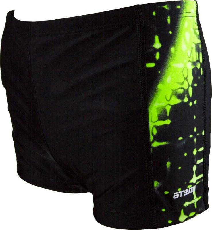 Плавки-шорты Atemi ВВ 9 37 детские для бассейна с принт. вставками, черный/зеленый цена