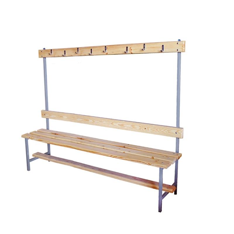Купить Скамейка для раздевалки с вешалкой 1500 мм сиденье из дерева Dinamika ZSO-002191,
