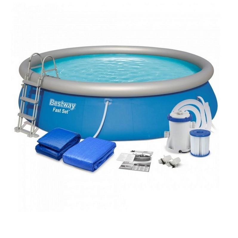 Купить Бассейн с надувным бортом 457х107 см Bestway 57294,