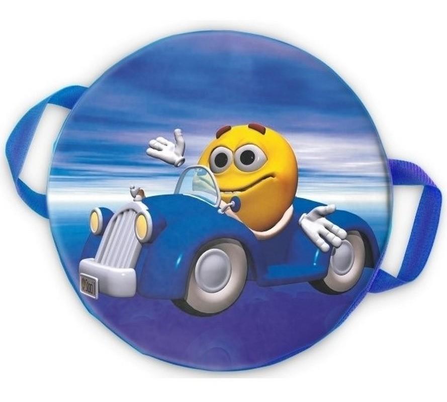 Ледянка мягкая круглая ComboSport D=35 см Смайлик автогонщик
