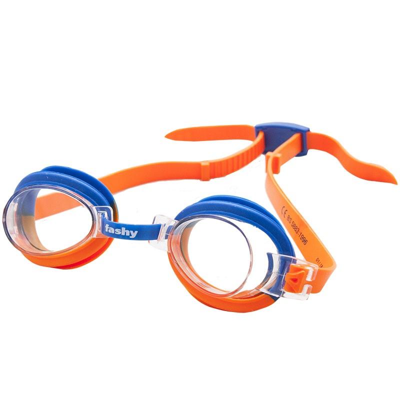 Купить Очки для плавания Fashy Top Jr 4105-37 прозрачные линзы, оранжево-синяя оправа,