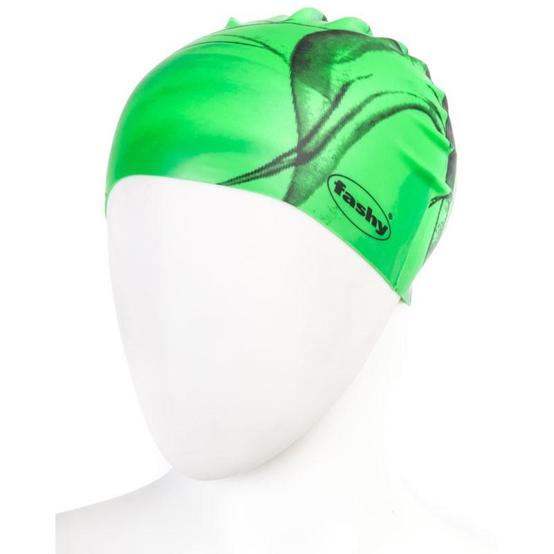 Купить Шапочка для плавания Fashy Silicone Cap 3031-00-60 силикон, зелено-черная,