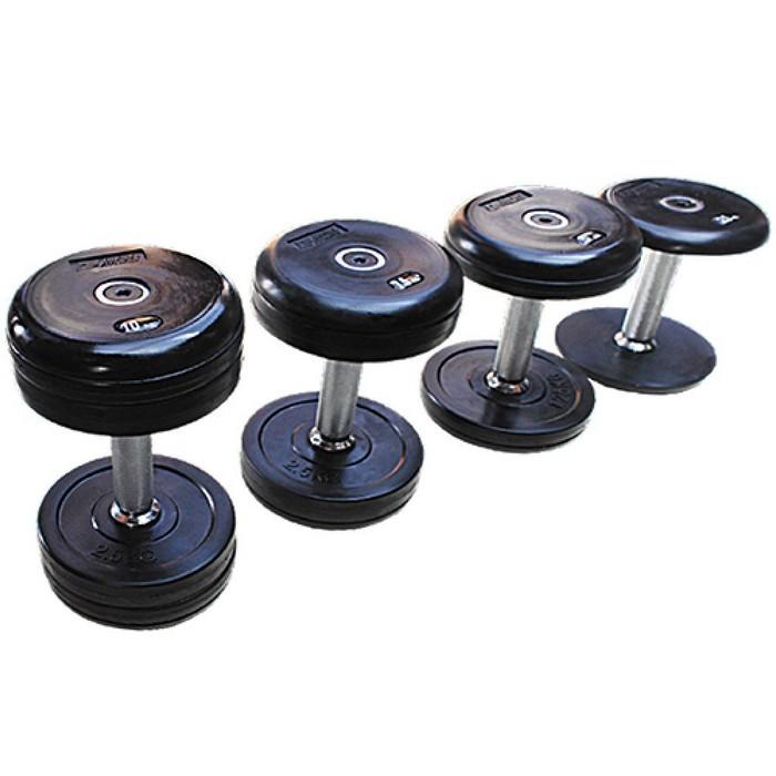 Профессиональный гантельный ряд Grome Fitness 2,5-25 кг (10 пар с шагом 2,5 кг) DB068 стойка для проф гантелей на 10 пар grome fitness dr 121
