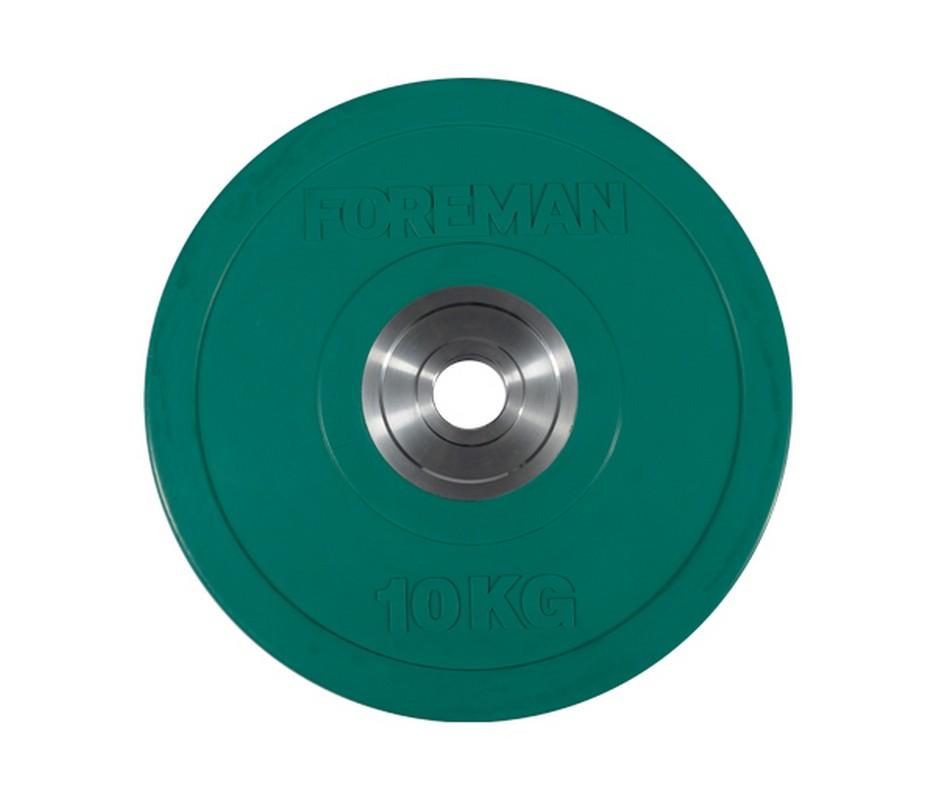 Купить Диск олимпийский бампированный Foreman Bumper, 10 кг BM-10KG Зеленый,