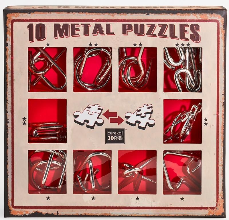Купить Набор из 10 металлических головоломок (красный) 10 Metal Puzzles red set, NoBrand, Настольные игры