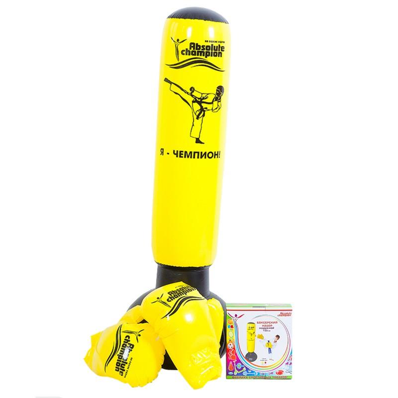 Набор боксерский надувной Absolute Champion (груша с перчатками) желтый 152 см