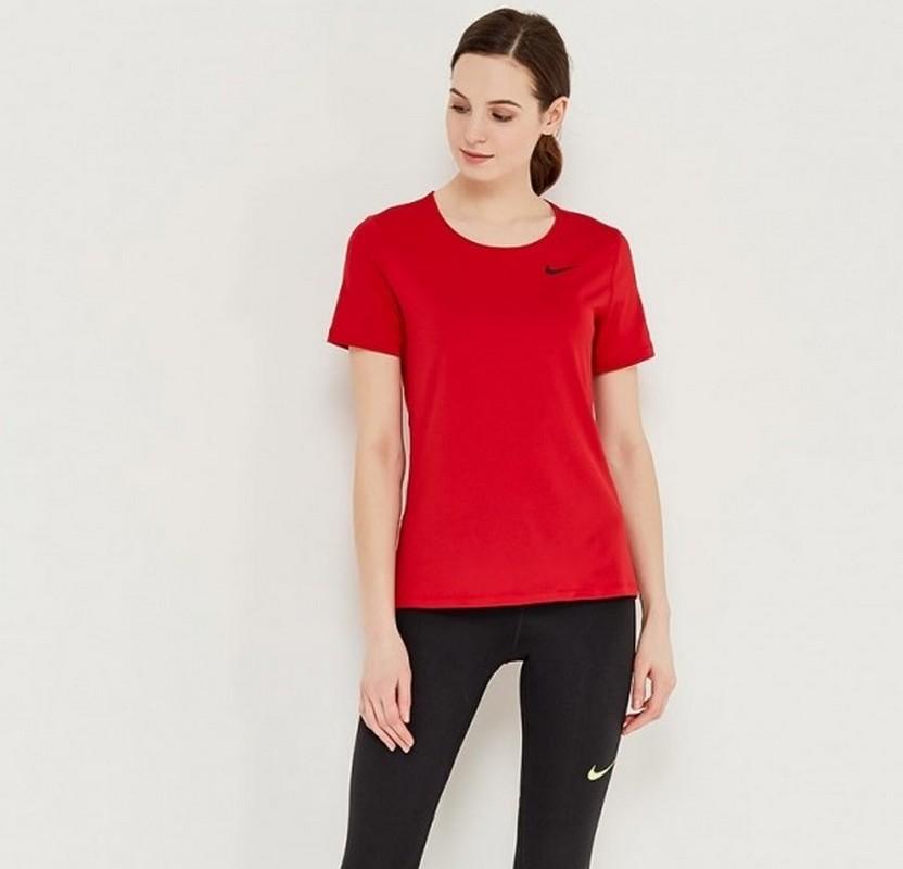 Футболка женская Nike Pro Top SS All Over Mesh 889540-687 красная