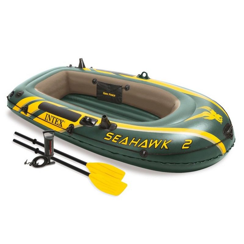 Купить Лодка Intex Seahawk 2 Set надувная, 2-х местная, с пластмассовыми веслами и насосом 68347,