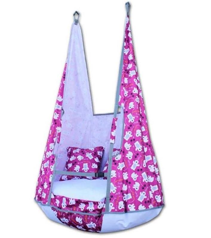 Качели-гамак Belon Ка-002 с подушками, мишки на розовом