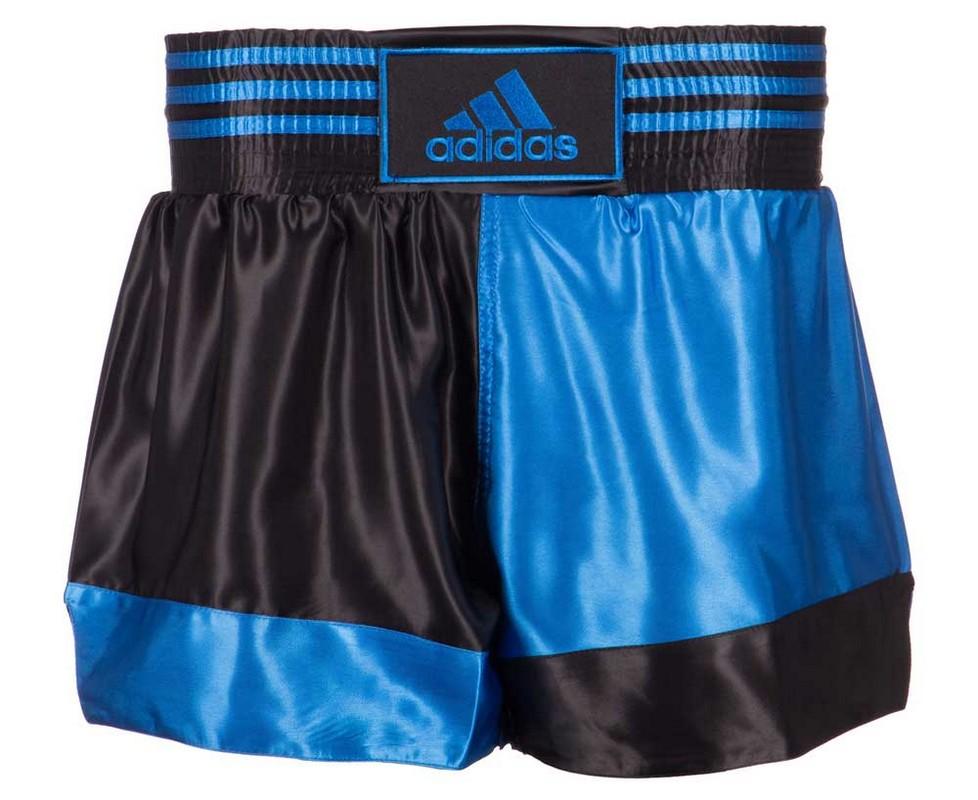 Шорты для кикбоксинга Adidas Kick Boxing Short Satin черно-синие adiSKB01 шорты adidas боксёрские боксерские amateur boxing shorts красные размер s артикул aditb152