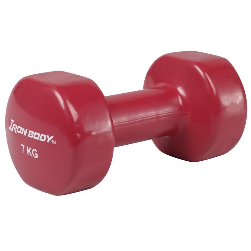 Гантель виниловая 7 кг Iron Body 4777DP красный