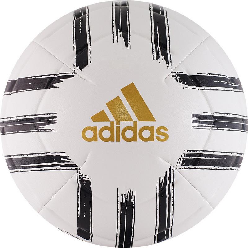 Купить Мяч футбольный Adidas Juve Club GH0064 р.5 бело-черно-золотой,