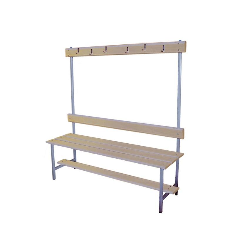 Купить Скамейка для раздевалки с вешалкой 1200 мм сиденье из фанеры Dinamika ZSO-002193,