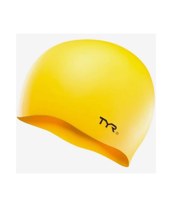 Купить Шапочка для плавания TYR Wrinkle-Free Silicone Cap, силикон, LCSL/720, желтый,