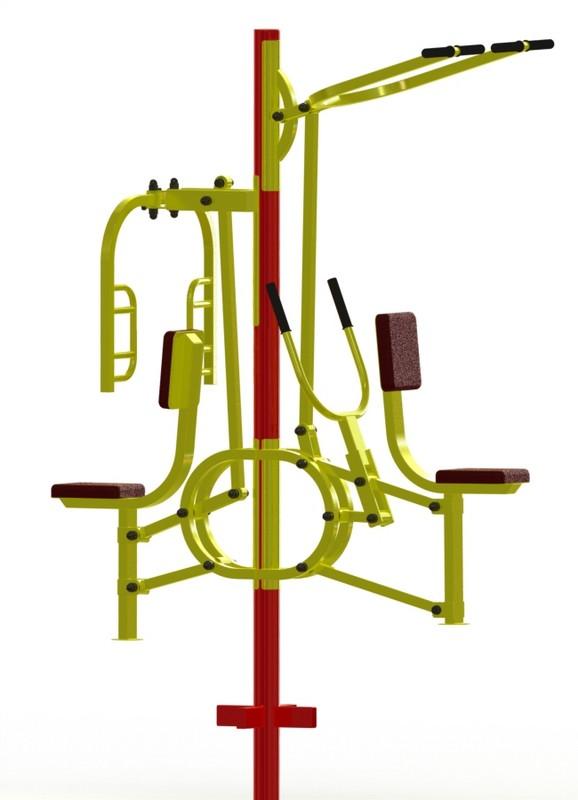 Купить Тяга горизонтальная + верхняя тяга + баттерфляй ProfiGym ТУ-17, Уличные тренажеры для детей