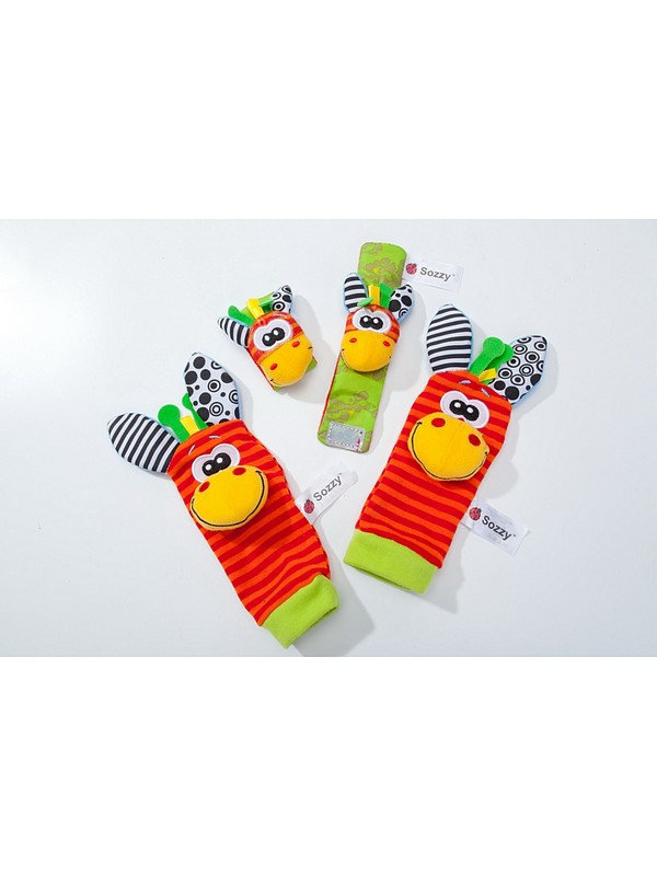 Набор детских носочков и напульсников с погремушками забавные зверюшки (Baby Rattle Toys) Bradex DE 0126